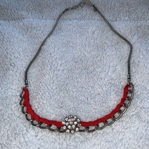 Jewelry - 2/$15 silver necklace with crystals & red ribbon